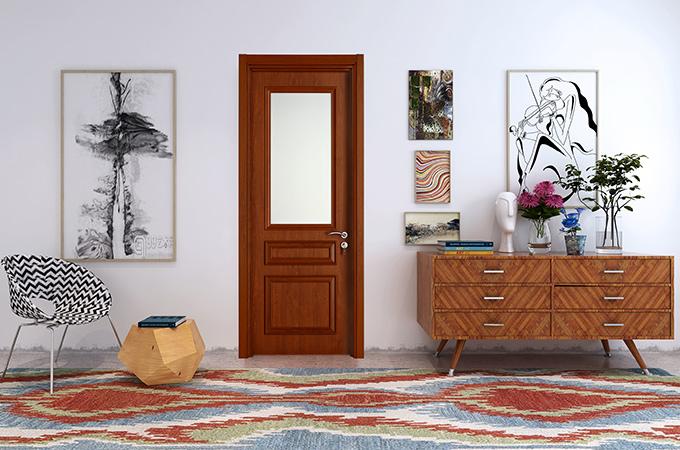实木复合门,门与门框之间配有密封胶条。