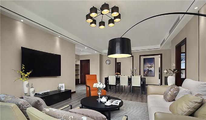 那一抹橙色  现代简约3居室