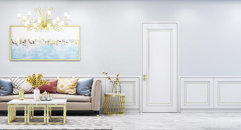 平板门与背景墙组合,提升整体室内空间感